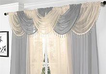 Voile Curtain Swag Beaded Crystals Cream - Alan