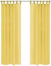 Voile Curtains 2 pcs 140x225 cm Yellow VD01455 -