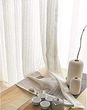 Voile Curtains Stripe Linen Semi Transparent