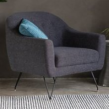 Volka Fabric Upholstered Armchair In Licorice Black