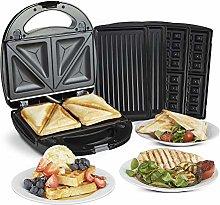 VonShef 3-in-1 Sandwich Toaster, Waffle Maker &