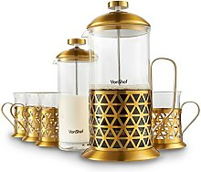 VonShef 8 Cup Brushed Gold French Press with 4
