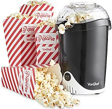 VonShef Fat-Free Hot Air Popcorn Maker with 6