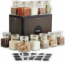 VonShef Glass Spice Jar Set of 12 with