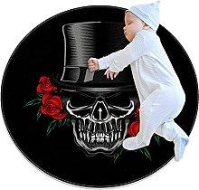 Voodo skull hat, Printed Round Rug for Kids Family