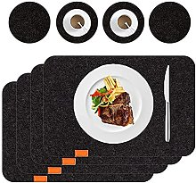 Voopaaly Set of 4/6 Placemats Felt with Coasters