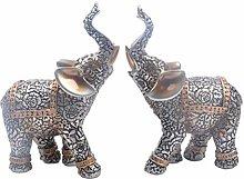 VOSAREA 2pcs Elephant Figurines Resin Elephant