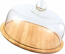 VOSAREA Glass Dome Cake Cover Wooden Cake Tray