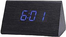 VOSAREA Modern Triangle LED Wooden Alarm Clock