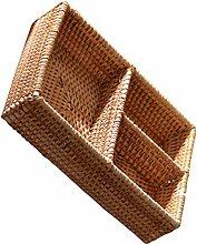 VOSAREA Rattan Storage Basket Desk Organizer 3-