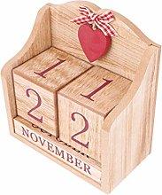 VOSAREA Wooden Calendar Perpetual Calendar Wooden