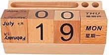 VOSAREA Wooden Perpetual Calendar Desk Calendar