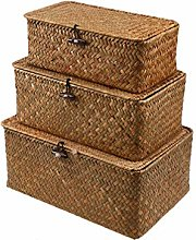 VOSAREA Woven Wicker Basket with Lid Seagrass