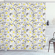 vrupi Yellow shower curtain pattern with bees and