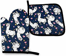 VunKo Cute Alpacas Llama Oven Mitts and Pot