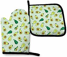 VunKo Cute Avocado Oven Mitts and Pot Holders Sets