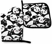 VunKo Cute Panda Oven Mitts and Pot Holders Sets