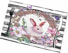 VunKo Happy Easter Bunny Placemats Set of 6 Spring