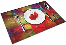 VunKo Love Hearts Placemats Set of 4 Valentines