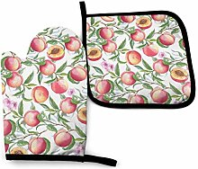 VunKo Peaches Branch Flowers Oven Mitts and Pot
