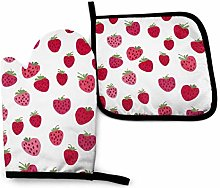 VunKo Pink Strawberry Oven Mitts and Pot Holders