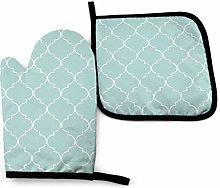VunKo Quatrefoil Geometric Oven Mitts and Pot