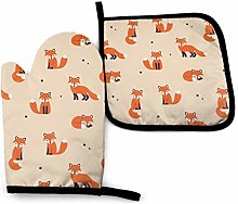 VunKo Red Fox Oven Mitts and Pot Holders Sets Heat