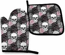 VunKo Rose Skull Oven Mitts and Pot Holders Sets