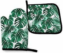 VunKo Tropical Palm Leaves Oven Mitts and Pot