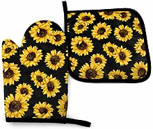 VunKo Vintage Sunflowers Oven Mitts and Pot