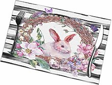VunKo Watercolor Easter Rabbit Placemats Set of 4