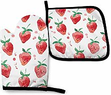 VunKo Watercolor Strawberries Oven Mitts and Pot