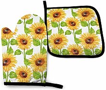 VunKo Watercolor Sunflowers Oven Mitts and Pot