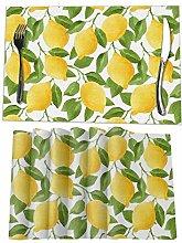 VunKo Watercolor Yellow Lemon Placemats Set of 6