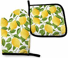 VunKo Yellow Lemon Oven Mitts and Pot Holders Sets