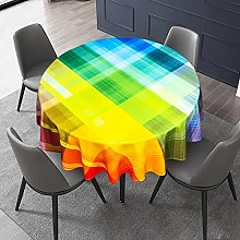 VVA Vintage Rainbow Round Tablecloth,Retro Plaid