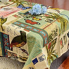 vvff Thick Canvas Tablecloth Crow Flower Butterfly