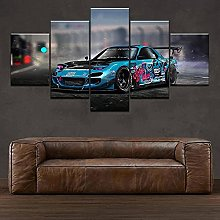 VYQDTNR - 5 Pieces Frameless Canvas Art Cool Rx7