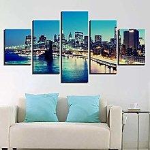 VYQDTNR - Large 5 Pieces Frameless Canvas Art City