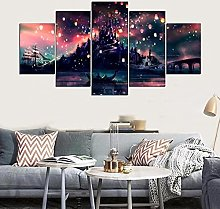 VYQDTNR - Large 5 Pieces Frameless Canvas Art Sky