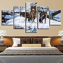 VYQDTNR - Large 5 Pieces Frameless Canvas Art Snow