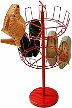 W-SHTAO L-WSWS Red Revolving Shoe Rack 2 Tier Shoe