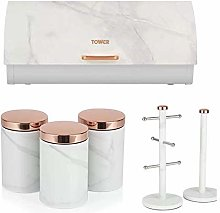 w TOWER Set of 6 ROSE GOLD & WHITE MARBLE EFFECT