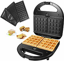 Waffle Maker with 3 Removable Plates Non-Stick