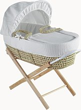 Waffle Palm Moses Basket with Folding Stand -