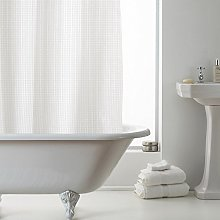 Waffle Shower Curtain With Liner White
