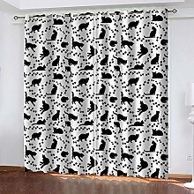 WAFJJ Curtain for Girls Black&cat Bedroom Curtains