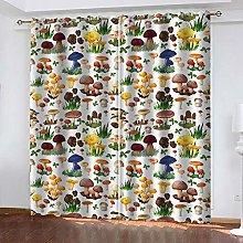 WAFJJ Curtain for Girls Colorful&Mushroom Bedroom