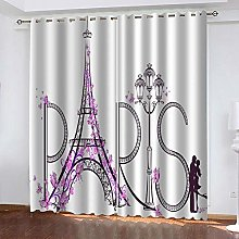 WAFJJ Curtain for Girls Flowers & Tower Bedroom