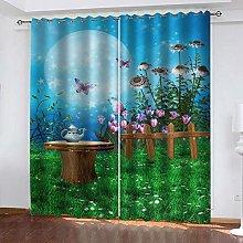 WAFJJ Curtain for Girls Green&Garden Bedroom